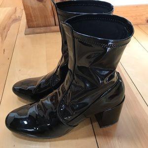 Mango black patent sock boots